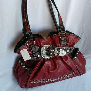 Belted Embellished Vegan Red Leather Hobo